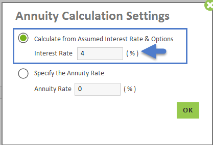 default inflation growth rates assumed annuity interest rate